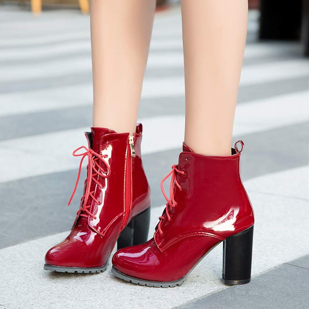 Thick High Heels Ankle Women Boots Lace Up Round Toe Footwear Fashion Female Shoes Winter Warm Boots