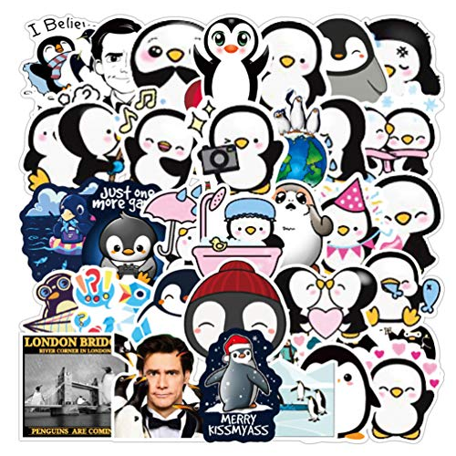 50pcs Movie Water Bottle Stickers, Teen Girl Boy Vinyl Decal for Laptop Skateboard Notebook Phone Computer Travel Case(Mr. Poppers Penguins)