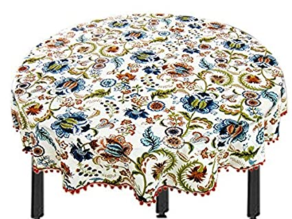 Miyanbazaz Textiles100% Cotton Multi Flower Fringe Round Table Cover / Tablecloth / (65 Inch)