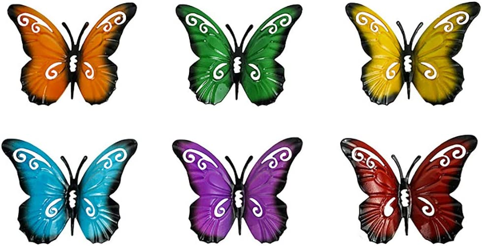 Outdoor Decor Wall Metal Butterfly Art for Living Bedroom Room Patio Fence Set of 6 Small Colorful Garden Sculpture Wall Hanging