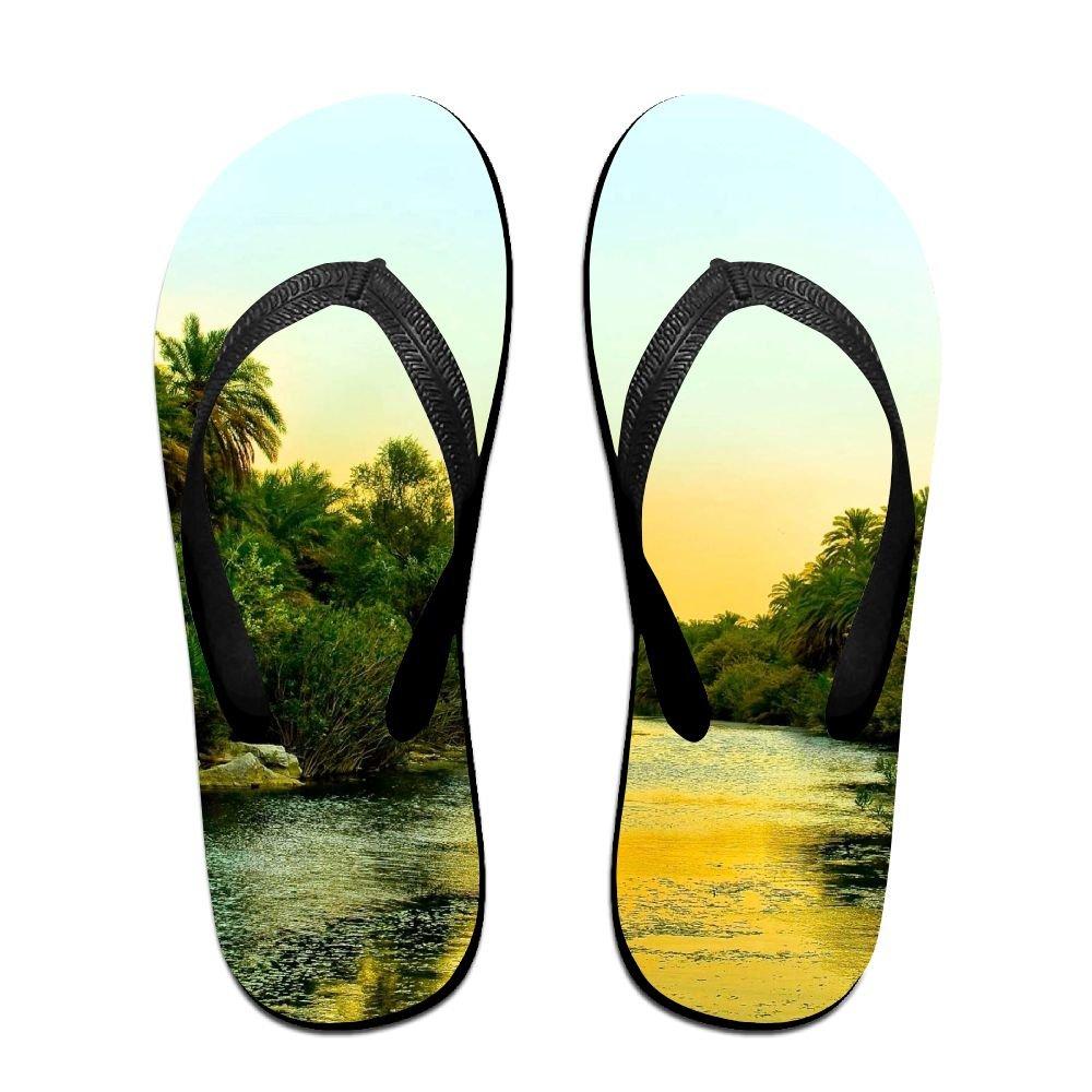 Unisex V Flip Flops Forest River Evening Trees Palm Photo Personalized Summer Slipper