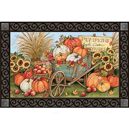 (MatMates Pumpkin Wagon Doormat #10111)