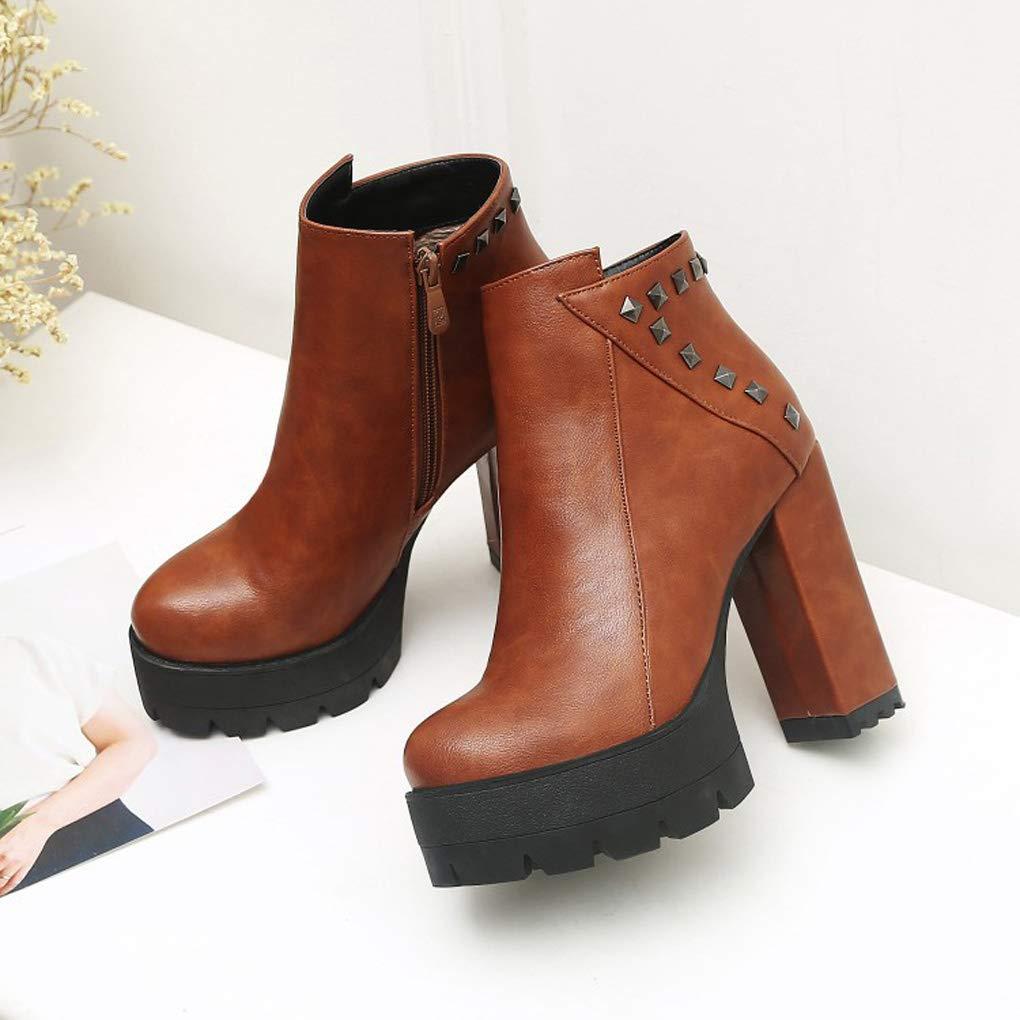 QQNVXUE QQNVXUE QQNVXUE Winter Seitlicher Reißverschluss Niet Wasserdichte Dicke Stiefel mit hohen Absätzen Angenehm warm (Farbe : #3, größe : 39) #3 9c3412