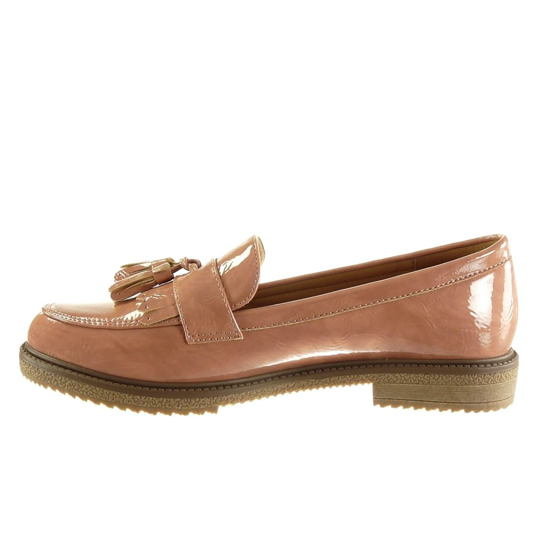 Angkorly - damen Schuhe Mokassin - Slip-On - Fransen - String Tanga - Patent  Blockabsatz 2.5 CM: Amazon.de: Schuhe & Handtaschen