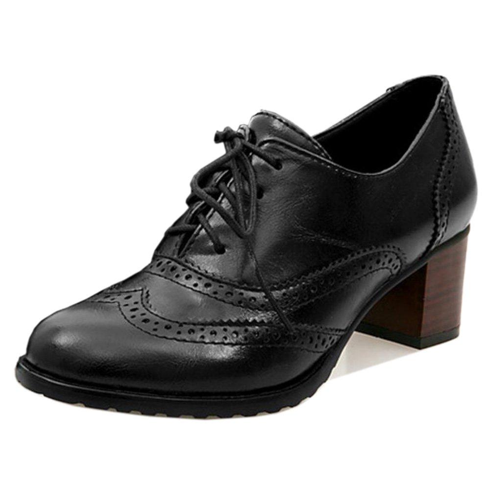 TAOFFEN Damen Klassischer Oxford Schuhe mit Absatz36 EU = 36 Asia|Black