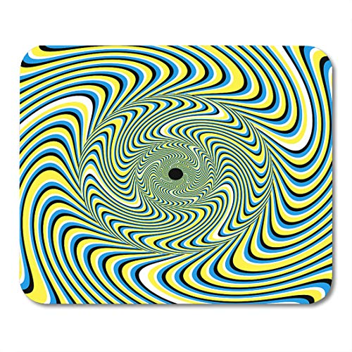 - Emvency Mouse Pads Blue Spin Swirlpool Yellow Pattern Motion Swirl Wavy Vortex Mouse pad 9.5