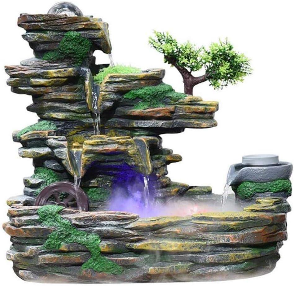 Cascata Fontana Da Tavolo Fontana Little Rock Giardino Scrivania Decorazione del Giardino Di Pietra Resina Fontane Impostare Atomizzatore Marrone