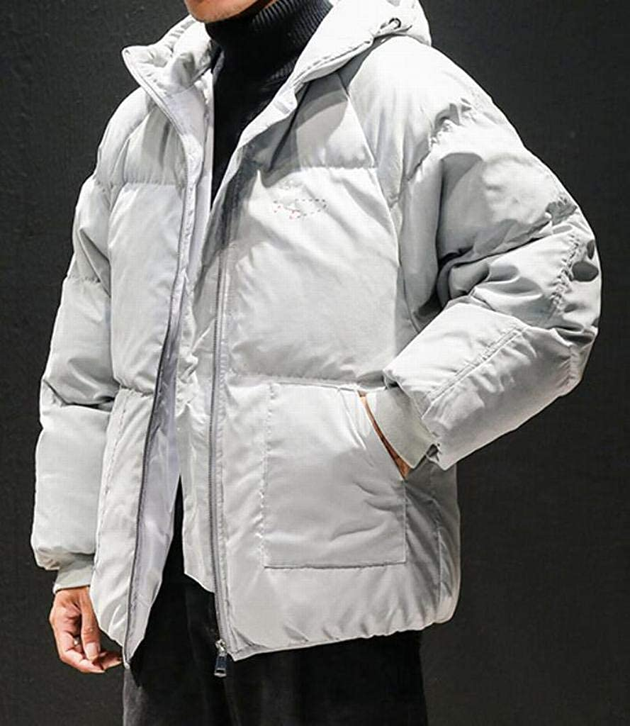 Fubotevic Mens Loose Fit Full-Zip Warm Winter Hooded Down Quilted Coat Jacket Overcoat