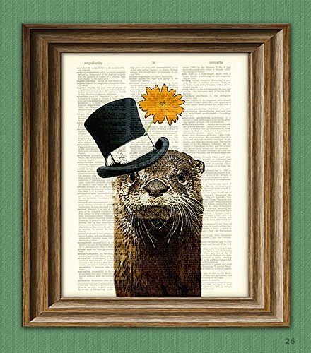 The River Gentleman OTTER with a top hat and flower illustration beautifully upcycled dictionary page book art print