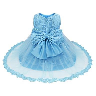 e8bd276c659a2 YiZYiF Bébé Filles Princesse Robe de Baptême en Dentelle Grande Noeud  Papillon 3-24 Mois