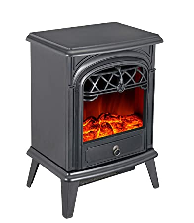 GMHome Free Standing Electric Fireplace Cute Heater Log Fuel Effect Realistic Flames, 1500W – Black