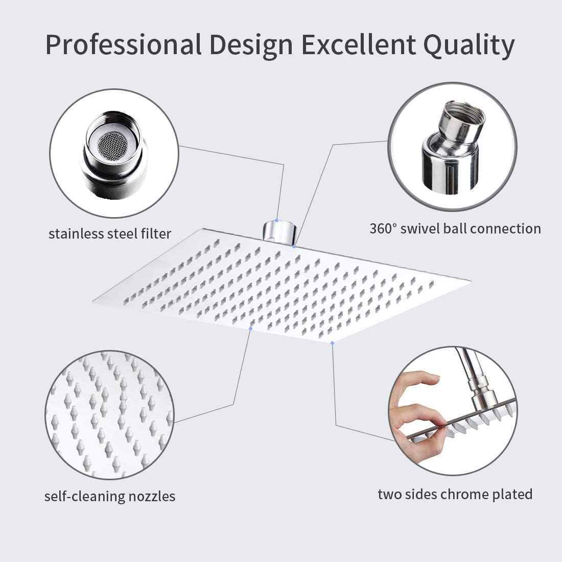 Adjustable Metal Swivel Ball Joint Self-Cleaning Silicon Nozzle Stainless Steel Modern Design Shower head for Shower Room 8 Inch Shower Head with High Pressure,High Flow Rainfall Shower Head Square
