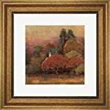 Tuscan View I by Jillian David Design Framed Art Print Wall Picture, Wide Gold Frame, 16 x 16 inches
