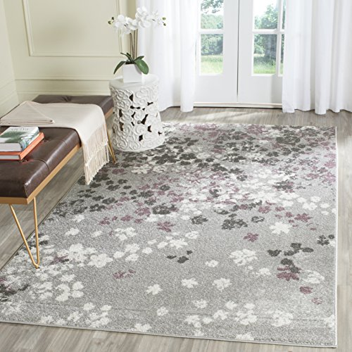 Safavieh Adirondack Collection ADR115M Light Grey and Purple Contemporary Floral Area Rug (3' x 5')