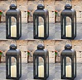 Smart Solar HY1011M 17'' Black LED Solar Patio Lantern - Quantity 6