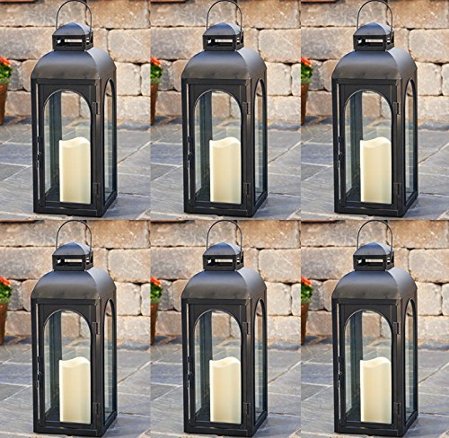Smart Solar HY1011M 17'' Black LED Solar Patio Lantern - Quantity 6 by Smart Solar