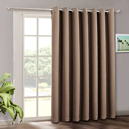 RYB HOME Wide Large Sliding Door Curtains   Blackout Energy Smart Thermal  Sliding Door Blinds Drape