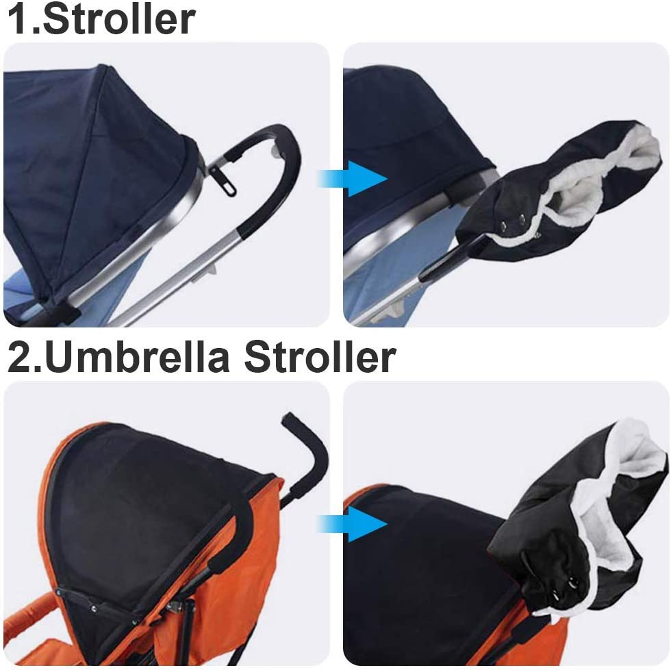 Stroller Mittens Gloves Hand Warmer with Warm Flannel,Keep Warm for Parents in Cold Weather Anti-Freeze Windproof Snowproof Stroller Hand Muff Winter Extra Thick Pushchair Gloves Black Plush