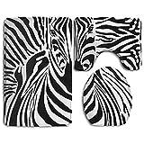 zebra shower head - Zebras Skins And Heads Pattern Home Set Of 3 Soft Bath Rug Non-slip Bathroom Shower Mat