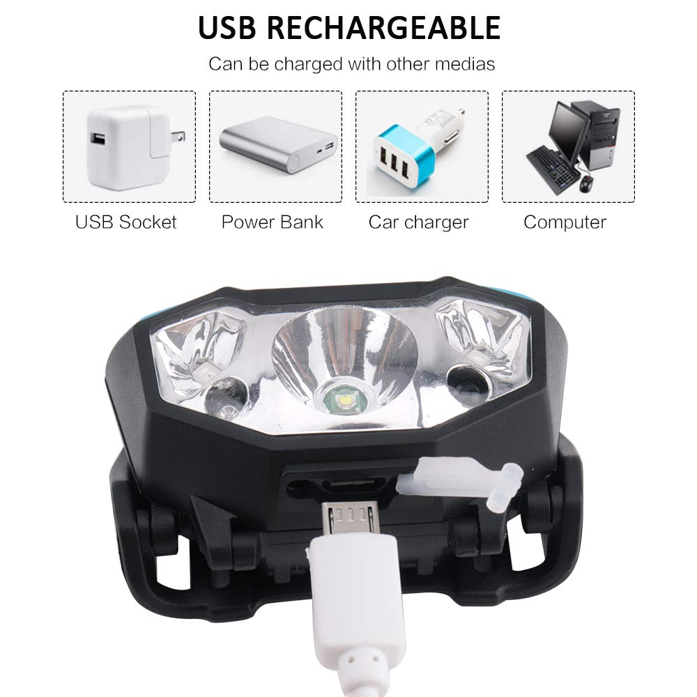 BESTSUN Outdoor Headlamp Inductive Headlamp Mini Rechargeable LED Headlight with USB Cable Waterproof Head Light Flashlight 800LM LED Head Torch with Red Light for Night Running Camping Reading