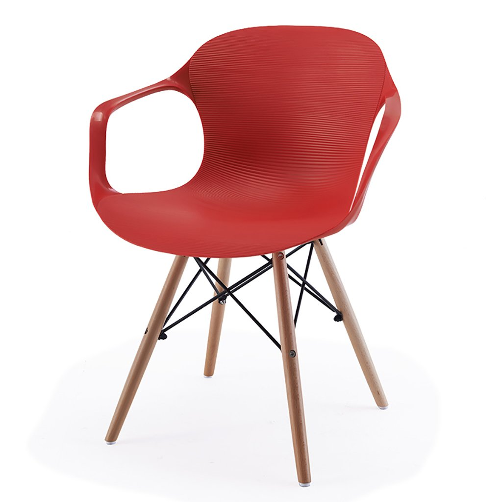 QRFDIAN Freizeitstuhl kreativer Esszimmerstuhl Moderner minimalistischer Massivholzstuhl Kunststoff-Coffee-Shop-Stuhl Eukalyptusbein Ledersitzstuhl (Farbe : B)