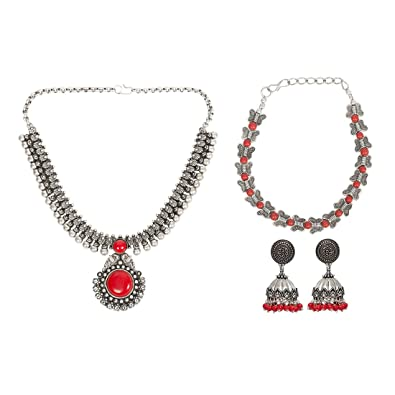 fa3ca9049 Buy Unibrand Designer Handmade Jewellery Red Stone Oxidised Silver Set  Necklace Bracelet Earring Set (With Freebie) Online at Low Prices in India  | Amazon ...