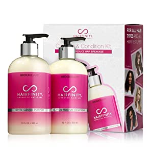 Hairfinity Cleanse and Condition Kit - Biotin Shampoo & Conditioner Set - Silicone & Sulfate Free Growth Formulas for Damaged, Dry, Curly & Frizzy Hair- Thickening for Thin Hair Safe for Color Treated