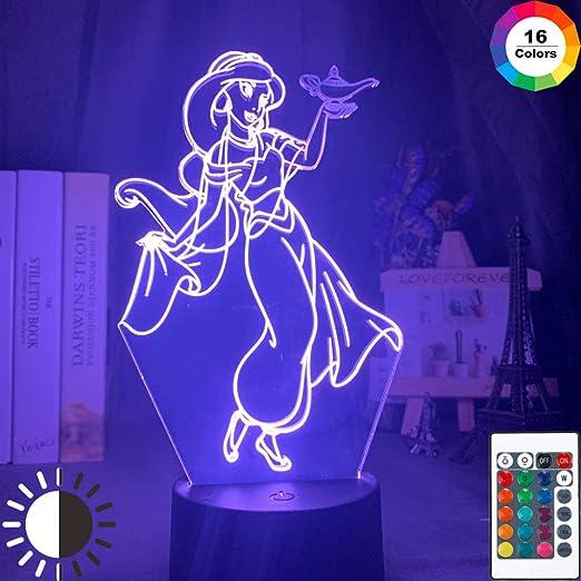 3d Lampe Illusion Optique Led Veilleuse Princesse Jasmine Detient La Lumiere Pour Fille Bedr Figure Veilleuse 16 Couleur Tactile Avec Telecommande De Chevet Lumiere Cadeau D Anniversaire Lumiere Amazon Fr Luminaires Et Eclairage