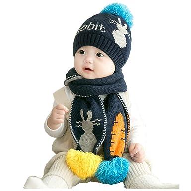 5630d0cfaea3 Bébé 2pcs Ensemble Bonnet Echarpe en Tricot Unisexe Chapeau Beanie à Pompon  Bonnet Calotte Cache-