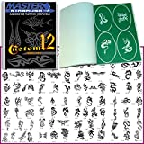 Self-Adhesive Reusable Temporary Tattoo Booklet#12 with 100 Stencils