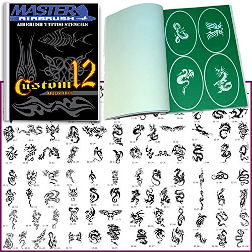 Original Brand New Airbrush Stencils 100 Temporary Tattoos Designs Design Book 12 Profession Popular Hot Stylish Style Design Pattern (Personal Tattoo Design)