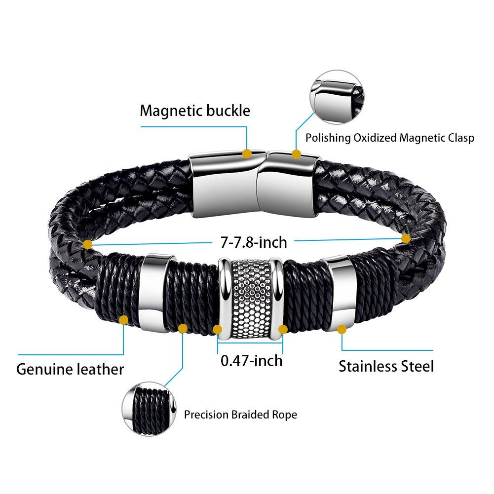 Amazon.com: Men Genuine Leather Bracelet Stainless Buckle Multi ...