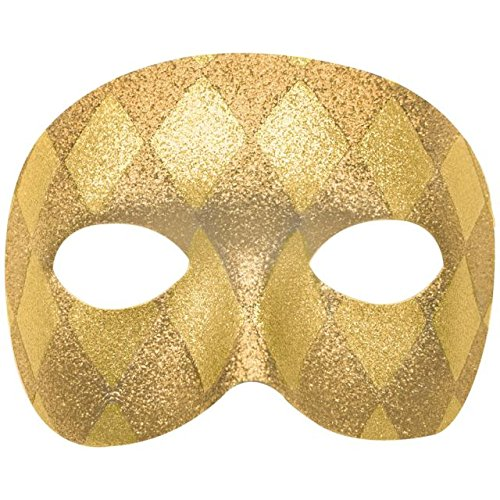 Amscan Glitter Gold Harlequin Domino Mask Mardi Gras Costume Party Accessory, Plastic, 3