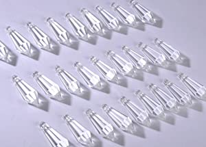 H&D 50pcs 38mm Crystal Icicle Pendant Chandelier Prisms Drops Lamp Candle Holders Curtain DIY Parts(Clear)