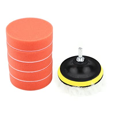 Terisass 8 Pcs/Set Car Cleaning Pads Auto Polisher Buffer Pads with Thread Drill Adapter Kit 4 Inch 100mm Sponge Polishing Pad Universal Round Shape Polishing Buffing Waxing Pad Kit: Automotive