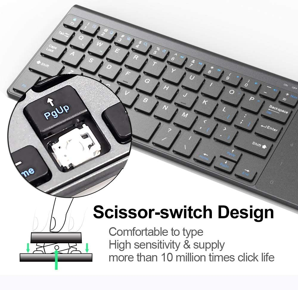 BMWY Keyboard Thin 2.4GHz USB Wireless Mini Keyboard with Number Touchpad Numeric Keypad for Android Windows Tablet,Desktop,Laptop Keyboard
