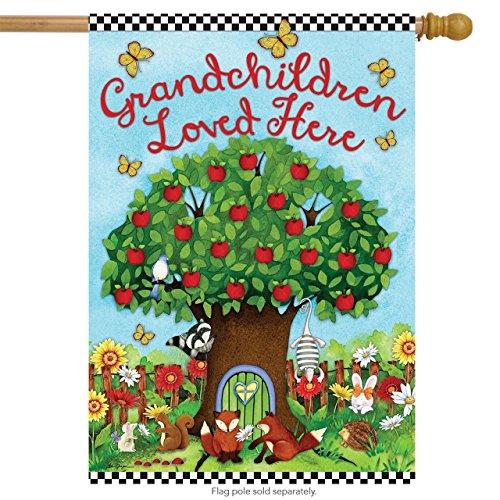Grandchildren Love Here House Flag Forest Animals Birds Butterflies 28