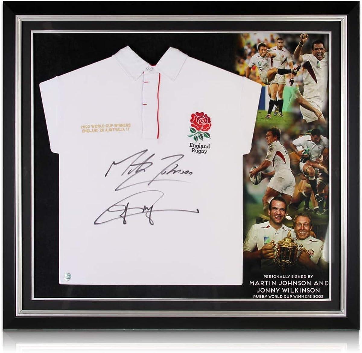 Premium Frame Exclusive Memorabilia Jonny Wilkinson And Martin Johnson Signed England Rugby Shirt