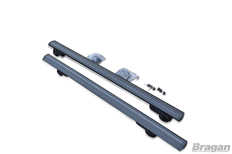 Bragan BRA41140B Integrated Roof Rack Rails Locking Black Cross Bars