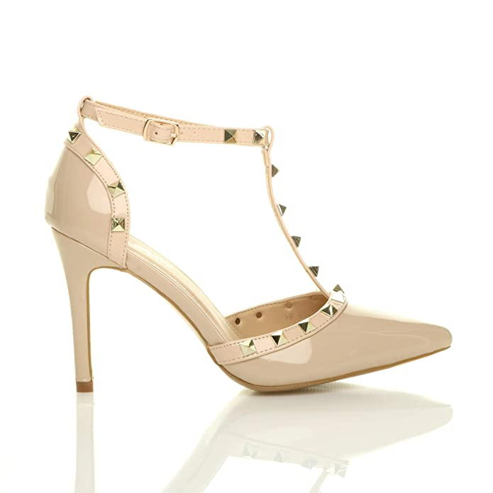 Ajvani Womens Ladies high Heel Contrast Studded t-Bar Pointed Court Shoes  Sandals Size: Amazon.co.uk: Shoes & Bags