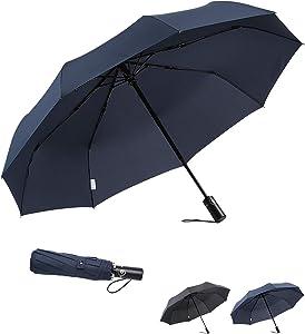 boy Travel Umbrella Windproof Compact Umbrella, Folding Umbrella Automatic Open Close, Upgraded 9 Ribs Reinforced Windproof Frame, Blue