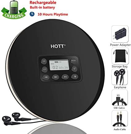 CCHKFEI Portable CD Player Support CD-R//CD-RW//MP3 Electronic Skip Protection Shockproof Anti Scratch Function Compact Disc CD Players with LCD Display