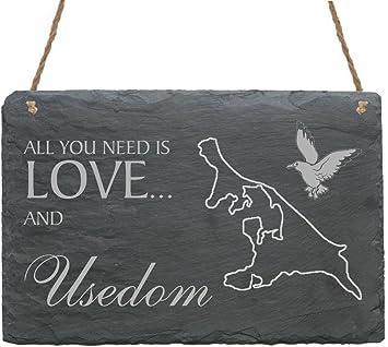 Schild « INSEL USEDOM MÖWE » zum Hinstellen Tischdeko Dekoration Ostsee Meer