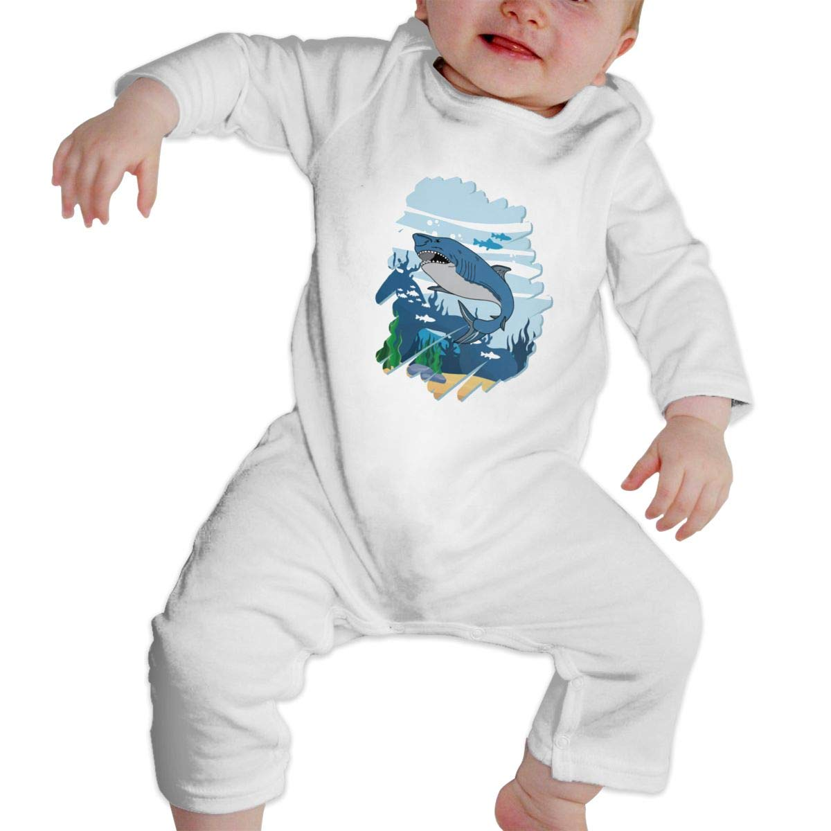 Baby Infant Toddler Cotton Long Sleeve Shark for Boys Gifts Climb Romper One-Piece Romper Clothes