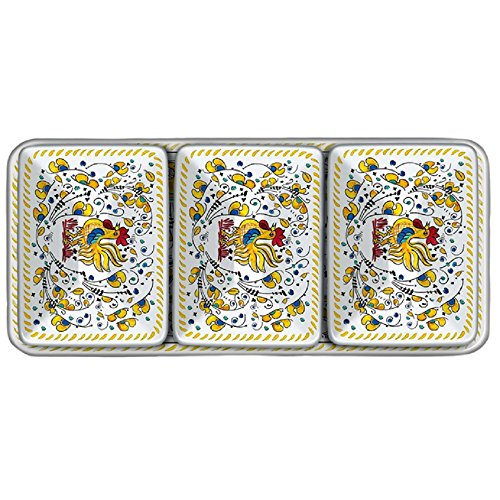 Le Cadeaux Rooster 4 Piece Dip or Appetizer Set, (Rooster Tray Set)