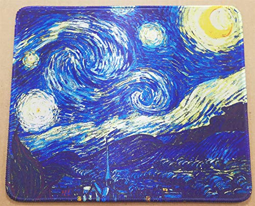 (12 x 10 inches HD Art Mousepad Famous Painting of Starry Night by Vincent Van Gogh Collection Mouse pad mat)