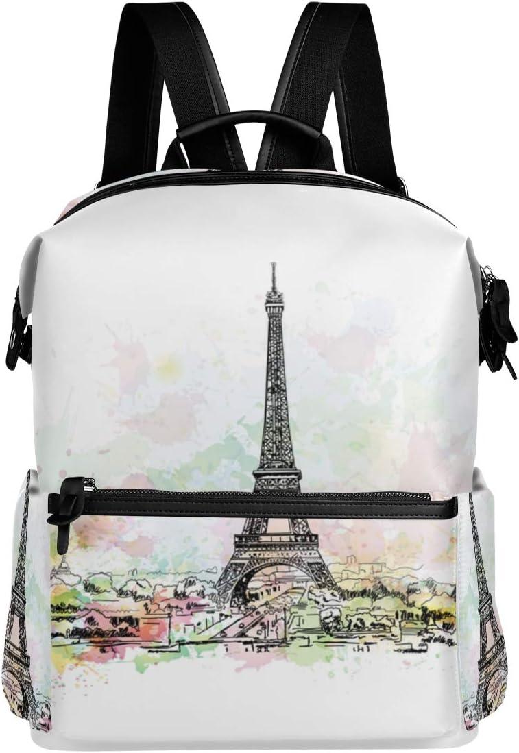 MIGAGA Dibujo Acuarela Torre Eiffel París Capital,Mochila para portátil Mochila con Correa de Cuero Mochila Escolar Viaje al Aire Libre Mochila Informal
