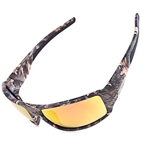 0a28eb69158 PLAY HARD Outdoor Sports Camouflage Frame Windproof Polarized Sunglasses  Fishing Eyeglasses (Orange Red)