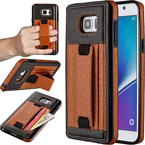"Price comparison product image Note 5 Case,  Moona® Wallet Case for Samsung Galaxy Note 5 with KickStand ""1 Year Warranty!"" - Samsung Galaxy Note 5 Wallet Case,  Note 5 PU Leather Case,  Note 5 Thin Case (Tan / Black)"