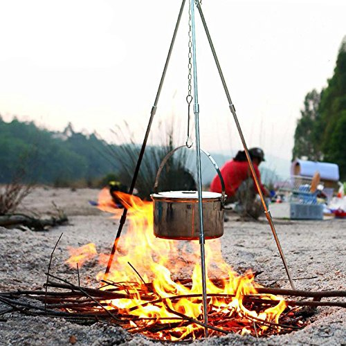 BEIMU Outdoor Camping Picnic Cooking Tripod Hanging Pot Durable Campfire Picnic Pot Cast Iron Fire Barbecue Hanging Tripod